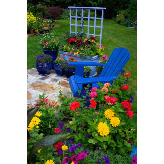 Container Garden design with blue chair in our