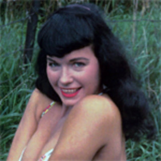 Bettie Page Bashful in the Grass Vintage Pinup