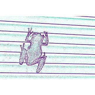 purple green frog design on stripes