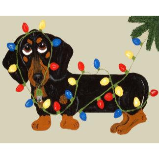 Dachshund Tangled In Christmas Lights Blk/Tan