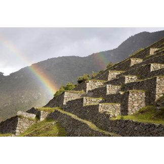 South America, Peru, Machu Picchu. Rainbows over