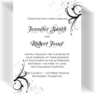 Black and Grey Floral and Scroll Invitation