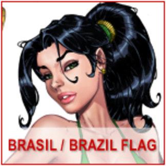 Brazil or Brasil Flag Comic Art Pinups by Al Rio
