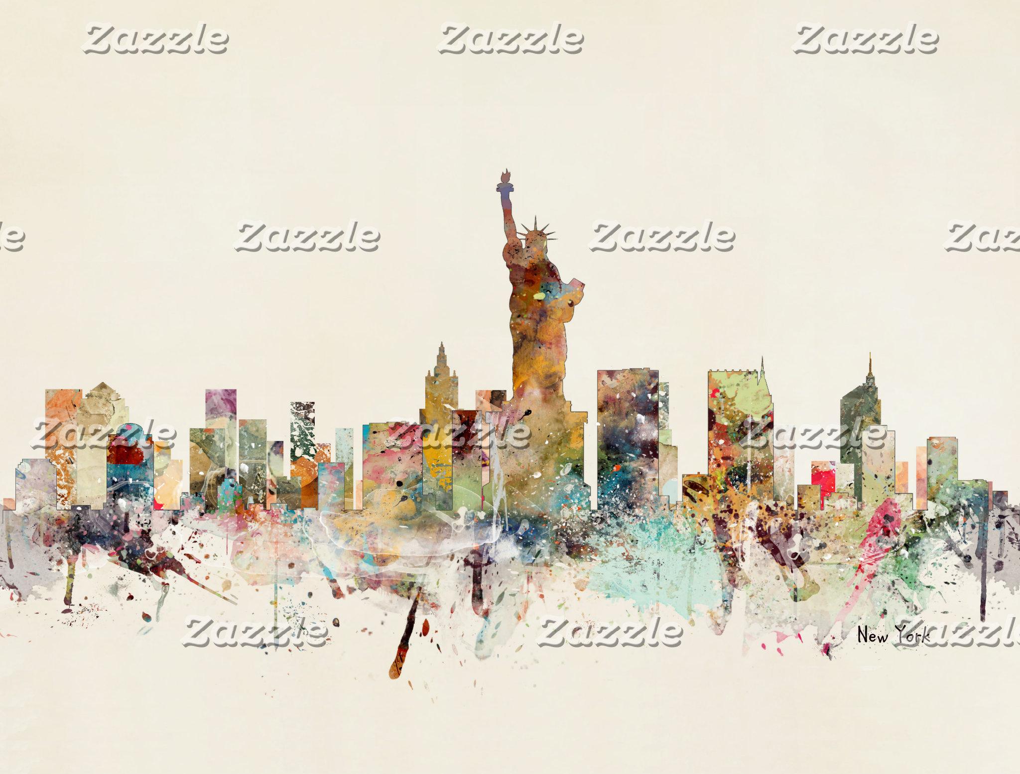 watercolor skylines