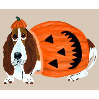 Basset Hound In Pumpkin Suit