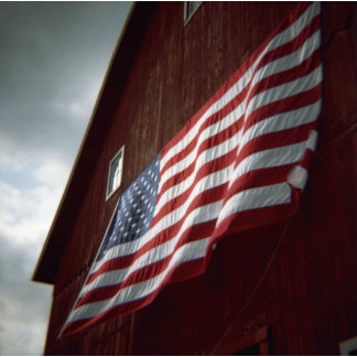 """""""American flag on red barn poster print"""""""