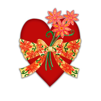 Red Heart with Bow and Flowers