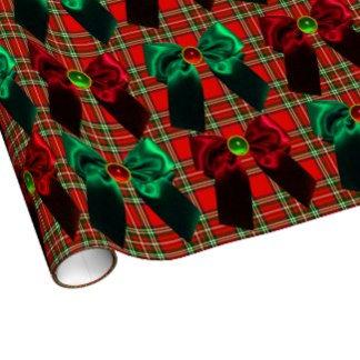 SCOTTISH TARTAN,DAMASK & RED GREEN CHRISTMAS BOWS