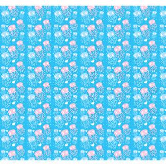 Cute blue jellyfish family pattern