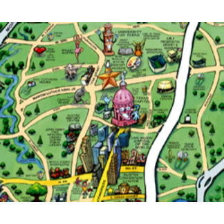 Austin Texas Cartoon Map