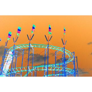 roller coaster invert orange sky