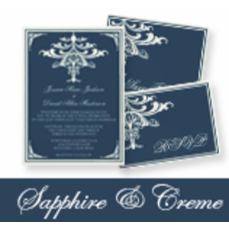 Sapphire and Creme Chandelier Wedding Invitations