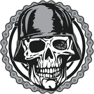 Military Helmet Skull With Biker Chain