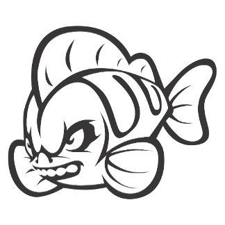 Angry Mad Wild Fish Outline Cartoon