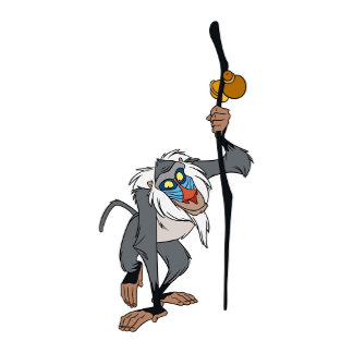 Lion King's Rafiki with a stick in his hand