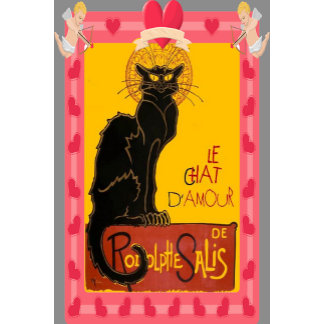 Le Chat D'Amour With Heart And Cherub Border