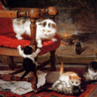 Cats by the Fireplace