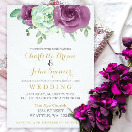 Succulent Plum Roses Wedding Invitations