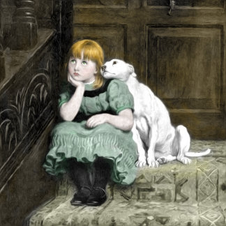Dog Adoring Girl Art Painting