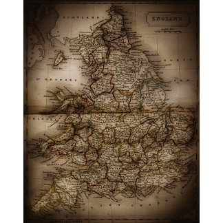 Close up of antique map of England