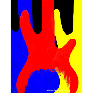 Three basses Red Yellow Blue graphic painting