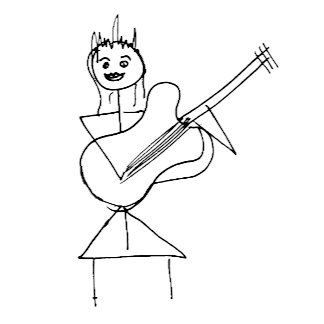 Stick Figure Girl holding bass / guitar smiling