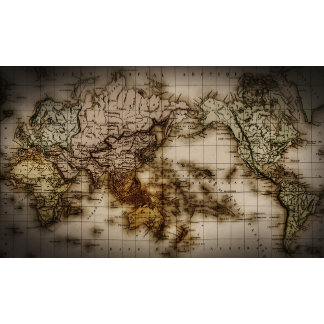 Close up of antique world map 6