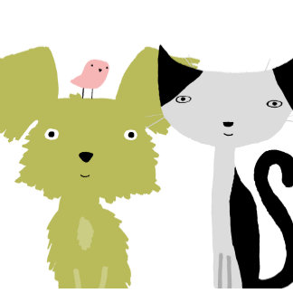 """Dog, Cat, and Bird Friends Poster Print"""