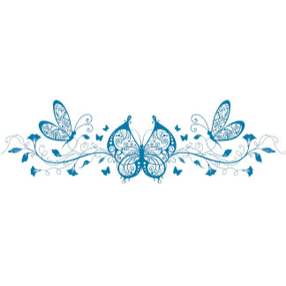 Blue Butterflies with Flowers