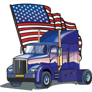 United States USA Flag Semi Truck