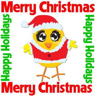 Merry Christmas Happy Holiday Chick