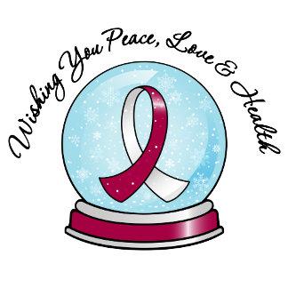 Head Neck Cancer Ribbon Merry Christmas Snowglobe