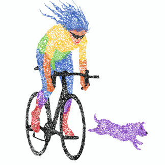 Scribble Cyclist & Dog