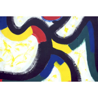 Black White Red Yellow Abstract