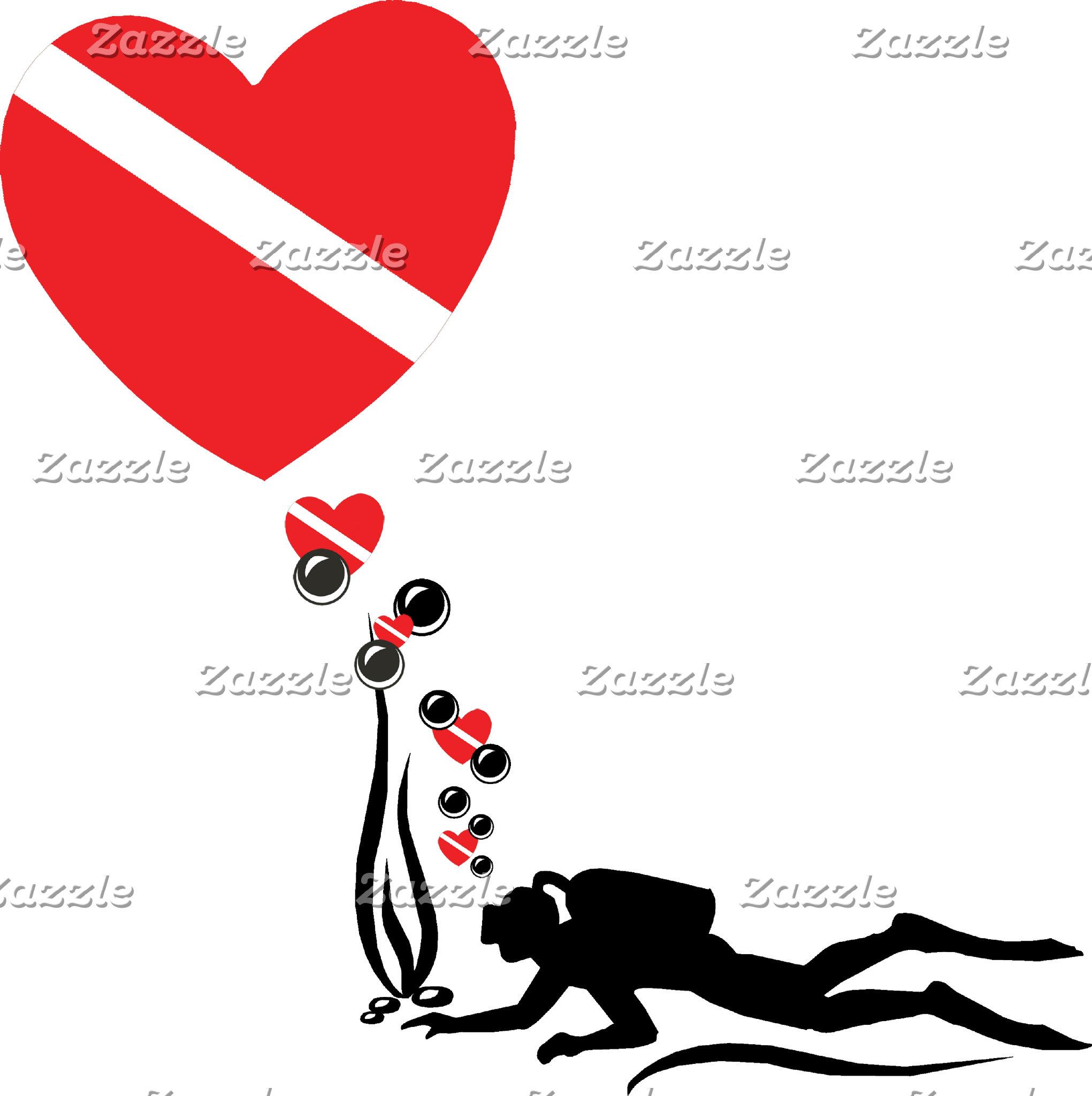 Love SCUBA T-Shirt Gifts Cards