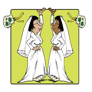 Brides tossing bouquet