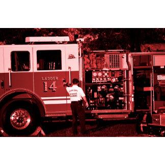 fireman entering truck burgundy colored