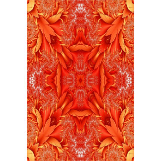 Delicate Feather Fractal - red orange