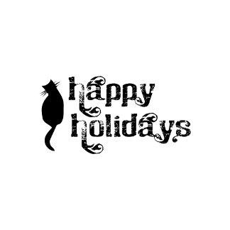 Happy Holidays Black Cat
