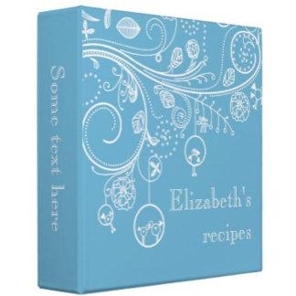 Modern floral swirls & birds recipe binders