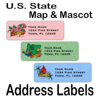 Address Labels ...  Vintage U.S. State Mascot !
