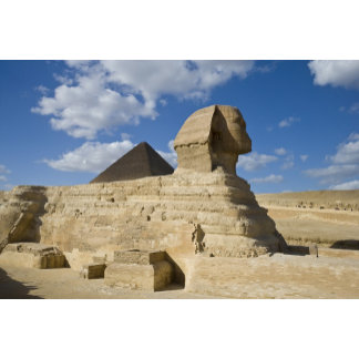 Egypt, Giza. The great Sphynx rises above the 2