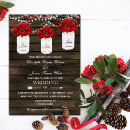 Mason Jars Poinsettias Wedding Invitations