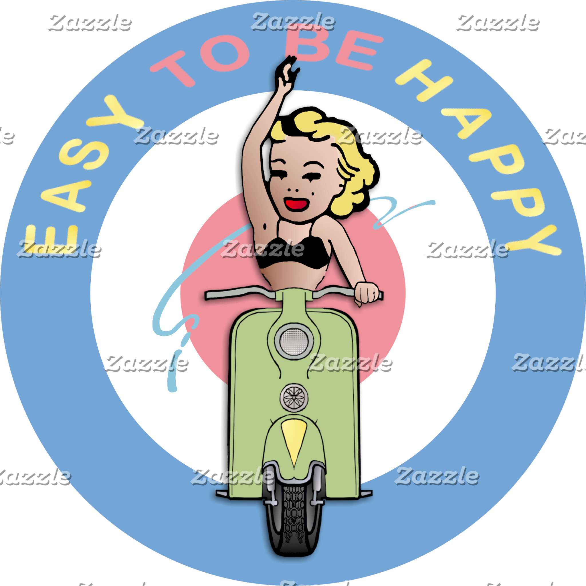 Scooter Girl Waving - Easy To Be Happy