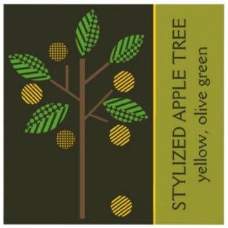 Stylized apple tree, yellow olive green