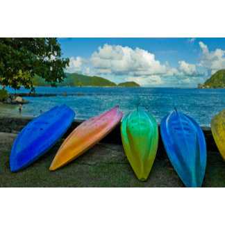 Colorful Canoes On The Beach In Pago Pago