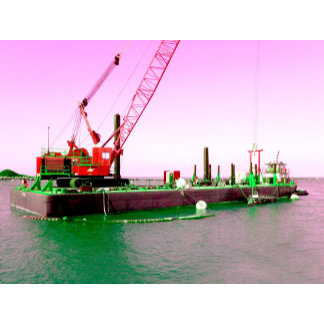 Floating crane and barge purple green toned