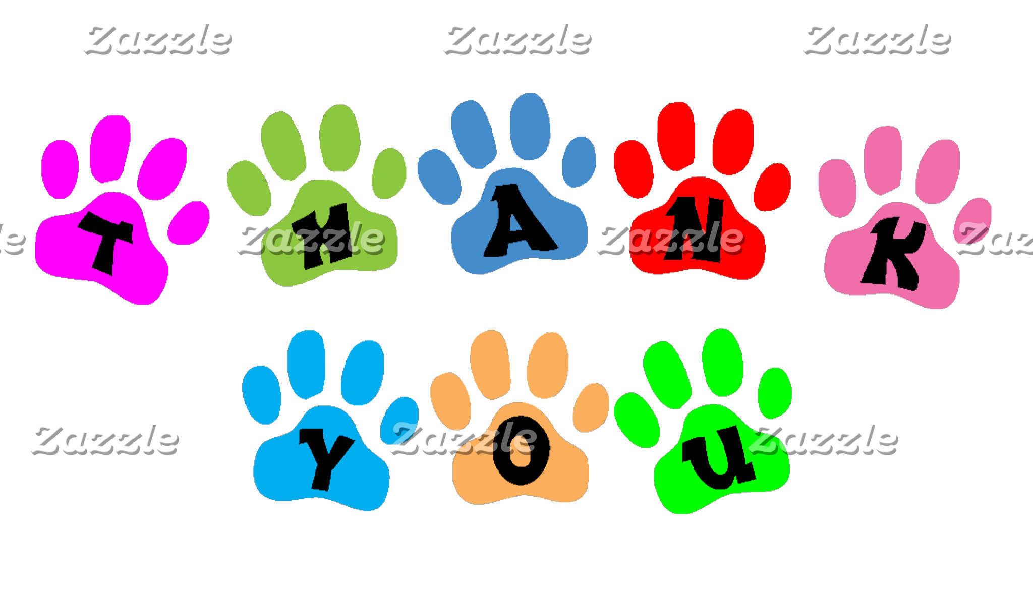 COLOR PAW PRINTS THANK YOU