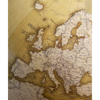 Antique map of europe. Old world.
