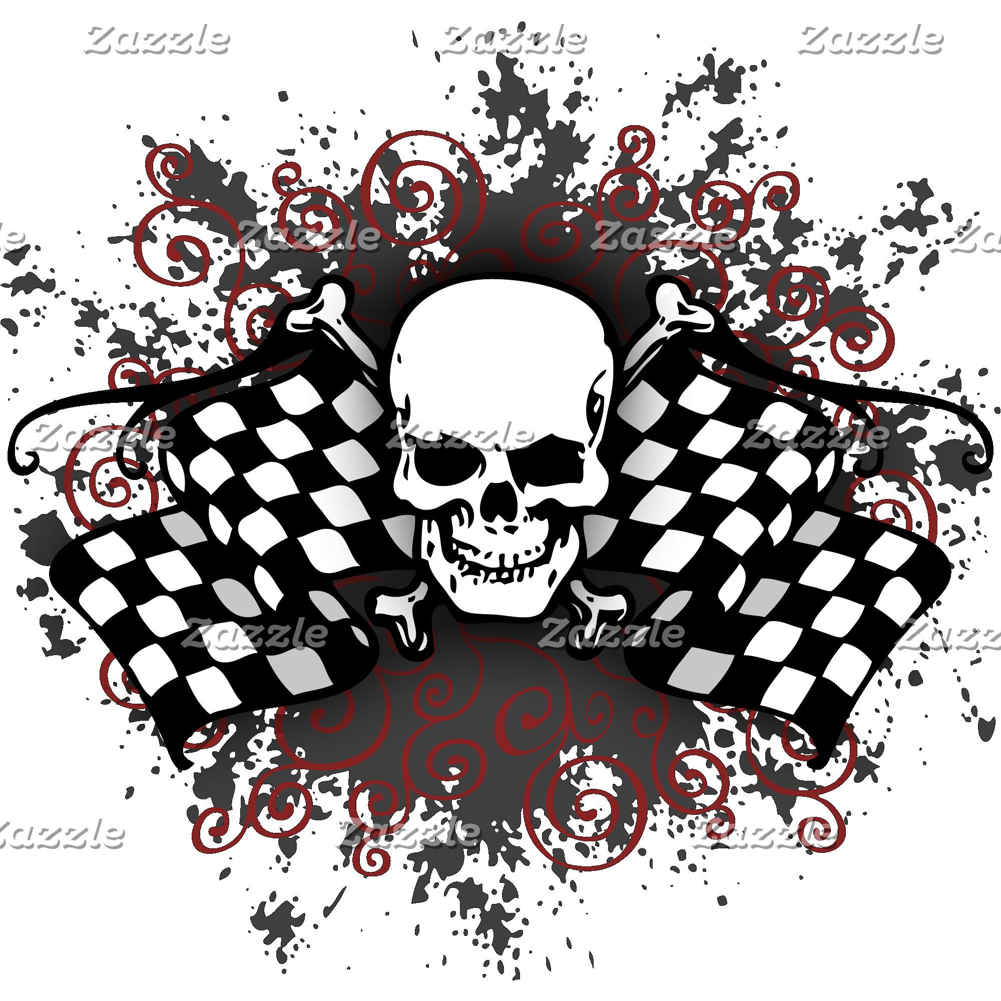 Hot Rod Biker Skulls